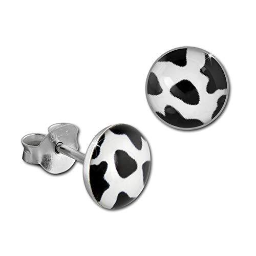 SilberDream Ohrringe Ohrstecker 8mm Echt Silber weiß schwarz Kuh Damen D2SDO8512S ein schönes Geschenk zu Weihnachten, Geburtstag, Valentinstag für die Frau