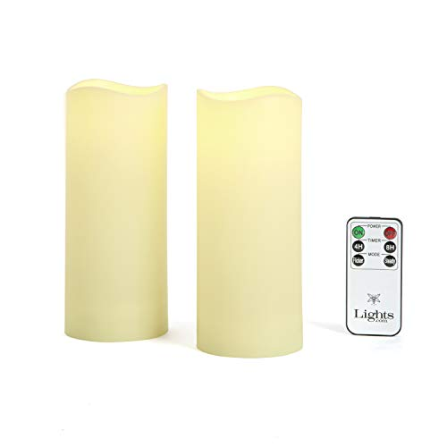 """Outdoor Flameless Candles, Set of 2 - Large 3"""" x 7"""" Decorative Pillar Candles,Warm White LED Glow, Water Resistant, Batteries Included"""