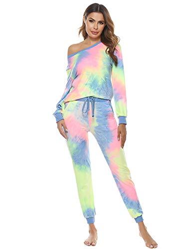 Abollria Pijama Set Invierno Tie Dye Chandal Mujer Dos Piezas Cuello Redondo Conjunto de Joggers en Velour Sudadera Deportivas Manga Larga y Pantalones con Fondo Elástico Ropa de Deportes