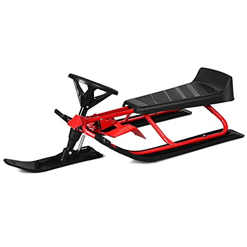 Goplus Snow Racer Sled, Ski Sled Slider Board with Twin Brakes, Steering Wheel, Retractable Pull Rope, for Toddlers Age 4 & up, Holds Two Kids/a Teenager/an Adult (55 INCH)
