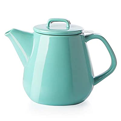 SWEEJAR Ceramic Teapot, Large Tea Pot with Stainless Steel Infuser, 40 Ounce, Blooming & Loose Leaf Teapot for Tea Lover, Gift, Family,(Turquoise)
