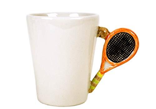Tenis Taza de Café Cerámica Hecho a Mano 8oz Blanco (10cm x 8cm)