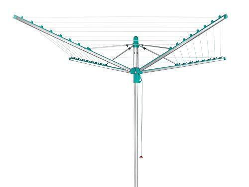 Leifheit Séchoir parapluie Linomatic 500 Easy, étendoir à linge 50 m avec sytème Easy-Lift, séchoir à linge avec rétractation automatique des fils