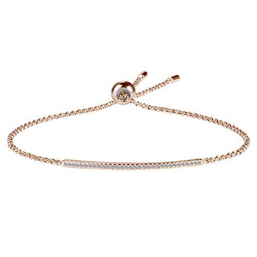 Paved Bar Bolo Bracelet in Sterling Silver 14K Rose Gold Plated - Bracelets for Women Adjustable