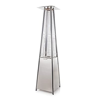 Fire Mountain Living Flame Gas Patio Heater in Stainless Steel - Inc FREE Regulator and Hose