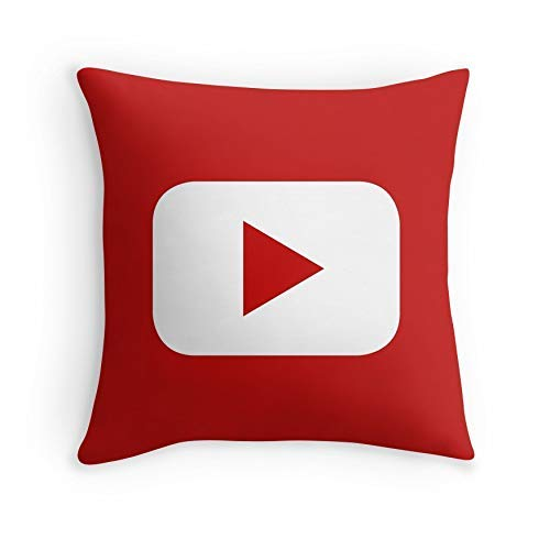 HOJJP Almohada Case Youtube for Sofa Couch Living Room Bed Decorative (Square 16x16)