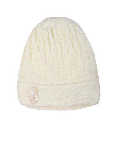OSWAL Women Regular Fit Soft Quality Knitted Fur Inside Winter Warm Woolen White Cap for Women Girls Ladies