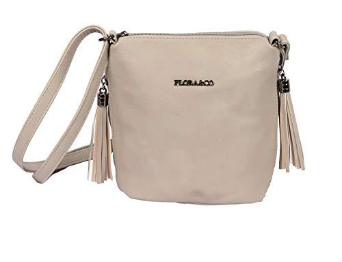 Flora& Co Handtasche 5624 Damen Elegant Umhängetasche Schultertasche für Alltage (Grau)
