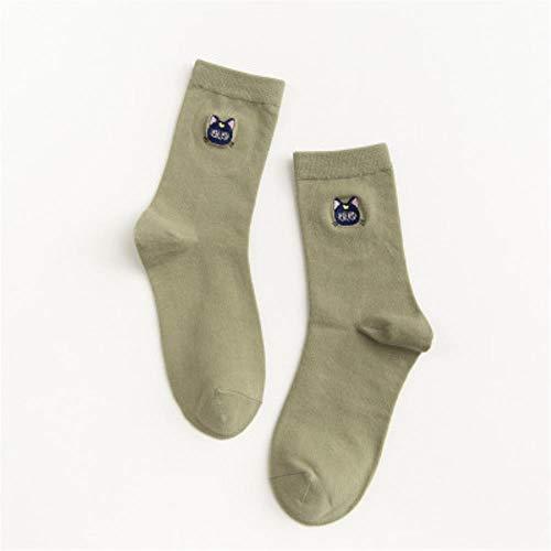 UKKD Calcetines Autumn Linda Mujer Calcetines Bordados A Lo Largo De Calcetines Coreanos Kawaii Chica Socks,J,Talla Única