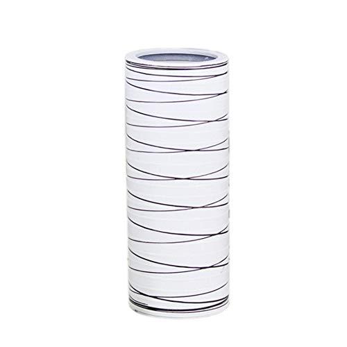 Fansi Schlichte moderne Kunststoffvase, schwarz mit weißen Streifen, 1 Stück, Dekoration, Blumvasenimitat, nicht zerbrechlich, plastik, weiß, 27.5*11*11CM