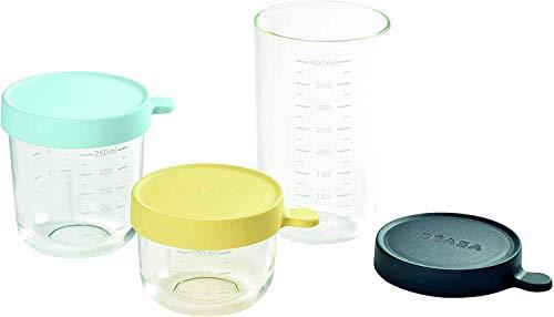 BÉABA Tarros de Conservación para Bebé, Tupper en Cristal, Resistente al calor, Recipientes para guardar la comida de Bebé, Con indicador de cantidad, 150ml + 250ml + 400ml, Amarillo/Azul