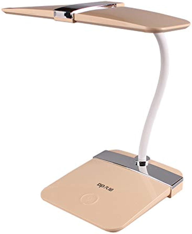 Skoy iyue LED Tischlampe Augenschutz Lade Plug-in Schlafzimmer Bett Lesen Kinder Dimmen Schreiben,Gold