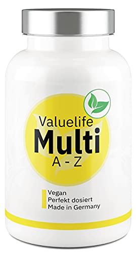 VALUELIFE Multivitamin Komplett A-Z I 25 Vitamine, Spurenelemente, Mineralstoffe + Bioflavonoide I Vegan I Ohne Zusatzstoffe I 45 perfekt dosierte Vitamin-Kapseln