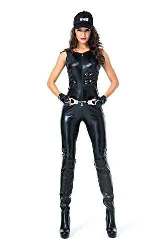 VENI MASEE Frauen Polizist/Polizistin/Lehrer Uniform Lackleder Overall Halloween Cosplay Kostüm
