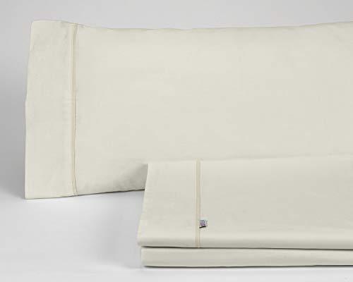 ESTELIA - Juego de sábanas Liso Color Crema - Cama de 135/140 (3 Piezas) - 100% algodón - 144 Hilos