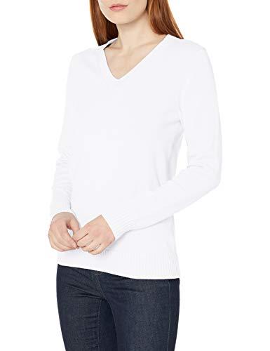 Amazon Essentials Pull à col en V 100% Coton. Pullover-Sweaters, Blanc, US (XS-S)