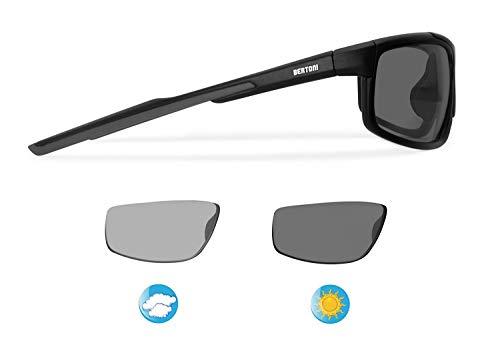 BERTONI Gafas Fotocromatìcas para Deporte Motociclismo Bicicleta Golf Carrera Running Esqui Lentes Antivaho - Mod. 180 (Negro Mate - Lentes Fotocromáticas Polarizadas)