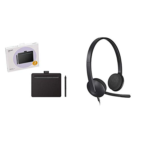 Wacom Ctl4100 Intuos Graphics Drawing Tablet With Software, 7.9' X 6.3', Black, Small & Logitech Usb Headset H340, Stereo, Usb Headset For Windows And Mac - Black