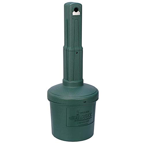 Global Industrial Low Maintenance 5 Gallon Large Capacity Flame Resistant Upright Plastic Outdoor Ashtray, Green