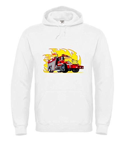 Druckerlebnis24 Hoodie - Feuerwehrauto Flammen Feuer Comic - Kapuzenpullover Unisex für Kinder - Junge und Mädchen