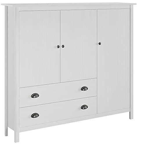 Skåp Garderober 3-dörrar garderob kulle räckvidd vit 142 x 45 x 137 cm massivt furu