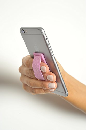 goStrap Finger Strap Screen Protector for Phones including Iphone Android Tablets and Mobile Devices, Light Pink