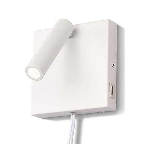 Toque USB Lámpara de Pared, ARKTIVO LED Toque USB Aplique Pared Interior, 3W, Ahorro de energía Toque USB Iluminación de pared, 3000K Warm White, para la sala de estar, dormitorio