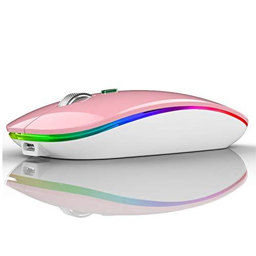 Coener M12 Ratón Inalámbrico Bluetooth, 2,4 GHz con Receptor Silencioso Dual Models Portátil Mouse con 3 Niveles de Adjustables 800-1200-1600 dpi para Escritorio/Windows/Linux/Vista/PC/Mac (Rosa)
