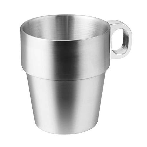 300ml Edelstahl Kaffeetasse Premium breiter Griff Doppelschicht Metall Teetasse für zu Hause Camping im Freien RV Geschenk Wein Bierbecher Kinder Tasse (Stil 1)