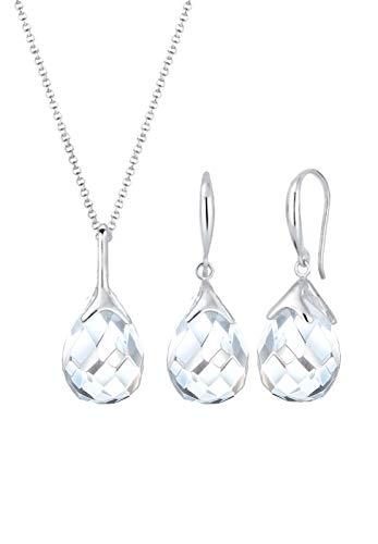 Elli Schmuckset Damen Tropfen Anhänger klassisch edel mit Bergkristall in 925 Sterling Silber
