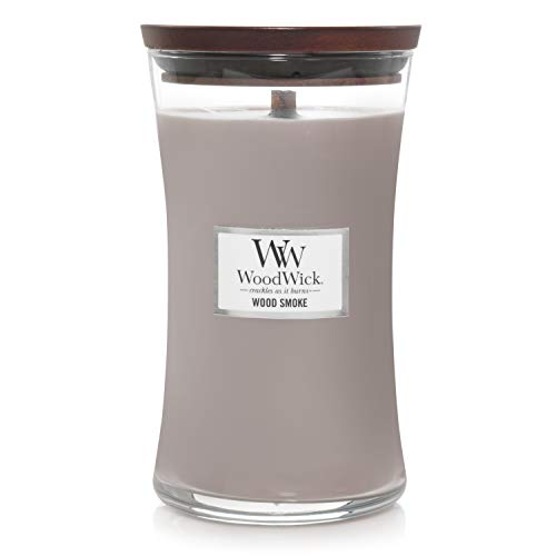 Woodwick Large Hourglass Scented Candle | Wood Smoke | with Crackling Wick | Burn Time: Up to 130 Hours Wood, Wood Smoke