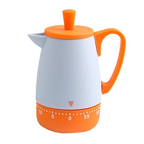 UPKOCH Küchentimer mechanischer Countdown-Timer 55 Minuten manuelle Teekanne Form Kochen Sport Schönheit Studie Erinnerung (orange)