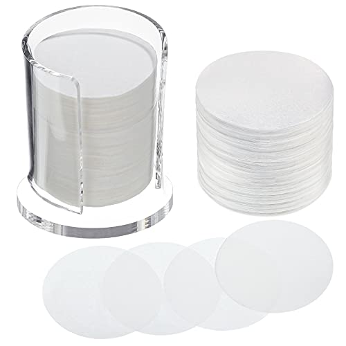 2 Pack 700 count Coffee Filter Paper Replacement Filters with Filter Holder White Round Disposable Paper Filters for DIY Coffee Compatible with The AeroPress Coffee and Espresso Maker (Transparent)