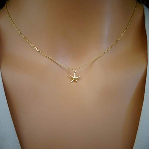 Jovono Starfish Pendant Necklaces Fashion Necklace Chain Jewelry for Women and Girls (Gold)