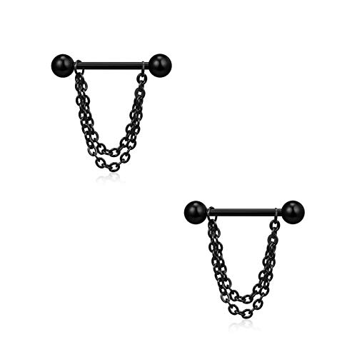 Mikelabo 2 Pairs Styles Nipple Ring 316L Stainless Steel Nipple Rings Barbell Sexy Nipple Piercings Bar ongue Barbell Nipple Ring Retainer Body Piercing Jewelry Punk