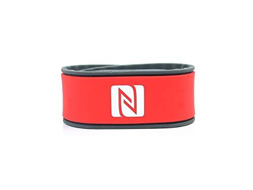 NFC Armband, geeignet für Kontaktdaten, Messe, Sport, 924 Byte (NTAG 216), wasserfest, rot/grau, verstellbar