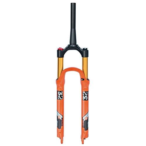LvTu Horquilla MTB Bicicleta 26 27,5 Pulgadas Naranja 140mm Viajar Suspensión 1-1/8' Ultraligero Aleación 9mm QR Unisexo LvTu-0019 (Color : Tapered Manual Lockout, Size : 26 Inch)