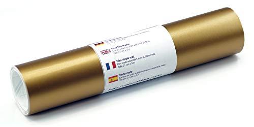 Selbstklebende Wandtattoo-/ Plotterfolie Vinylfolie matt 21 cm x 3 m, Farbe:Gold