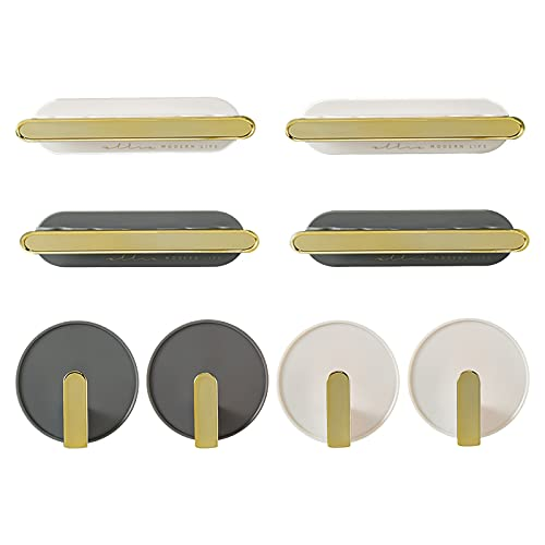 Selbstklebend Handtuchhaken Wandhaken Handtuchhalter Kleiderhaken für die Wand und Dekoration von Küchen und Badezimmern 8 Stück (Weiß+Grau)