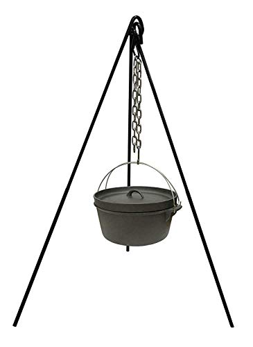 WWX Tripod Camping Outdoor Cooking Campfire Picnic Pot Cast Iron Fire Grill Oven New