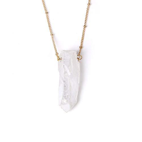 MHKL Colgante De Piedras,Collar Colgante Blanco De Cristal De Piedras Preciosas Naturales Irregulares con Cadena Larga Regalo De Joyería De Navidad para Mujeres Y Hombres