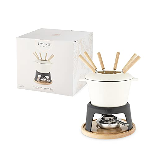 """Twine Farmhouse Kitchen Enamel Cast Iron Fondue Set Cheese Melting Pot Metal Stand with Stainless Steel Forks and Chrome Gel Burner, 8.5"""", Off-Cream"""