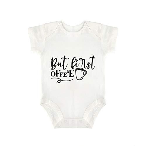 VinMea Body de bebé con texto en inglés 'But First Coffee' para recién nacido, en 5 tamaños - S