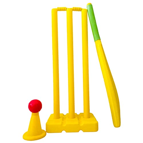 Cricket Bat Juego de Cricket de Plástico de 9 Piezas con Bate de Críquet, Pelotas de Críquet, 3 Tocones, 2 Fianzas y Bolsa - Juguete para Niños para Niños Pequeños para Jardín al Aire Libre, Juego de