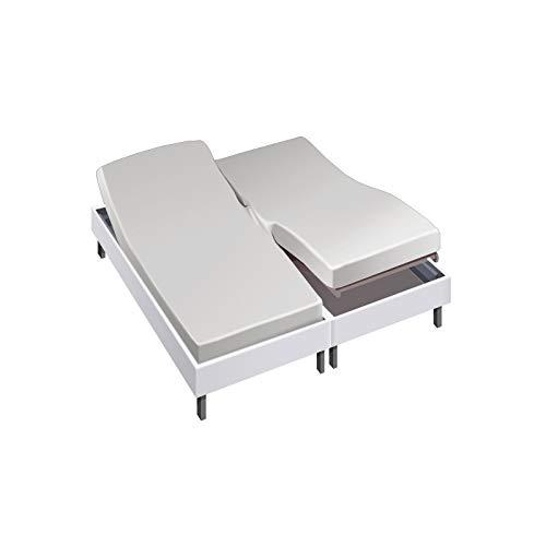 Drap House pour lit articulé 2x80x200 en Percale Perle - Couleur: Perle