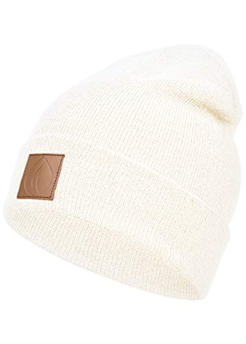 Occulto Leatherpatch Winter Mütze Beanie (White)