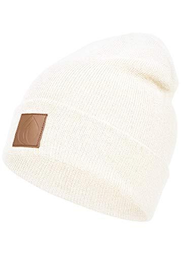Occulto Leatherpatch Winter Mütze Beanie (White)