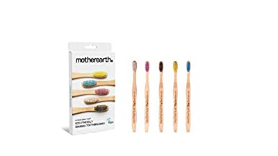 MOTHEREARTH 5 Pack Bamboo Toothbrush Biodegradable - Eco Friendly - Antibacterial - Natural Bamboo Toothbrushes - BPA Free - Soft Bristles - Organic, Vegan Wooden Toothbrush - Dentist Recommended