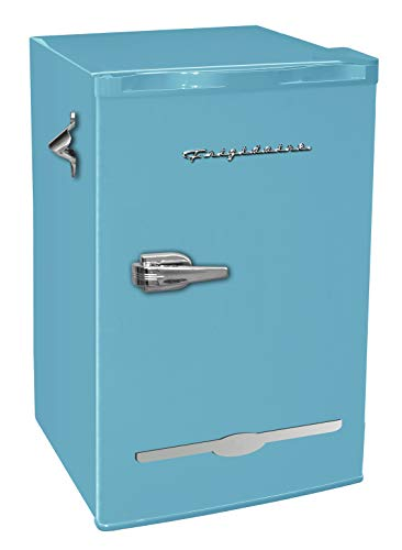 Frigidaire EFR376-BLUE 3.2 Cu Ft Blue Retro Bar Fridge with Side Bottle Opener