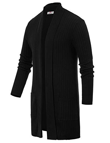 Mens Open Front Sweater Draped Longline Cardigan with Pockets Size M Black